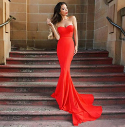 Red Hot Sexy Pictures NZ - Hot Sale Cheapest Red Long Evening Dresses Mermaid Sexy Zippper Back Sweetheart Sleeveless Maid of Honor Prom Dress