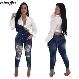 backless denim jumpsuits 2019 - 2018 Spring Suspenders Trousers Denim Rompers For Women Casual Jeans Pearl Beaded Jumpsuit Backless Hole Hip Hop Bib Ove