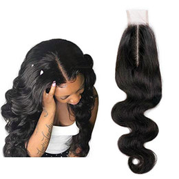 closures wave UK - 2x6 Deep Part Lace Closure Human Hair Body Wave Brazilian pre plucked Lace Frontal Closure for Women Natural Color