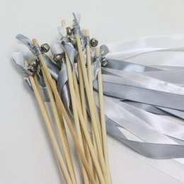 $enCountryForm.capitalKeyWord Australia - New arrival 50pcs lot sliver and white Wedding Wands Ribbon wands fairy stick With Gold Silver Bells wands holiday supplies T397