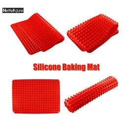 Silicone Microwave Mat Australia - Free Shipping 40x29cm Square Silicone Baking Mat Microwave Oven Grill Pads Roasted Chicken Plate Kitchen Bakeware Biscuit Pans