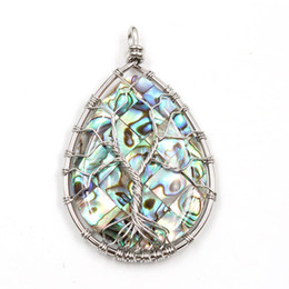 Charms Wire Wrapping Australia - Natural Abalone Shell Wire Wrapped Life Of Tree Energy Jewelry Unique Sliver Pleated Warter Drop Pendant