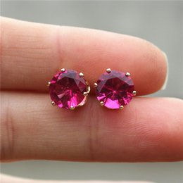 Chinese  Cheap 8mm Imitation Zircon Stud Earrings Color Circle Round Statement Earring For Girls Gift For Woman Jewelry manufacturers