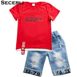 267d40cc40d0 2018 Summer Children Clothing Boys Set 3 4 6 8 9 10 12 Years Short Sleeve  Ribbon Shirt Ripped Jeans Shorts Teenage Kids Boy Set