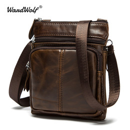 genuine leather man bag small Australia - WardWolf Messenger Bag Men Shoulder Bag Genuine Leather Small Male Man Crossbody Bags for Messenger Men Leather Bags Handbags