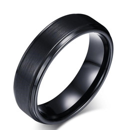 black tungsten engagement rings 2019 - ZHF Jewelry Men's Rings BASIC 8MM Wedding Engagement Band Black Pure Tungsten Carbide Men Matte Brushed Center Male