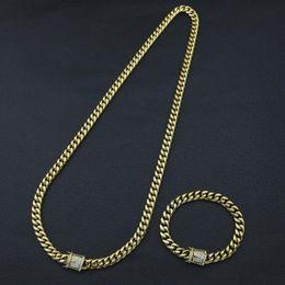 Luxury Chains Australia - Fashion Design Cuban Chain Hip Hop Necklaces and Bracelets Luxury 18K Gold Plated Necklace Bracelet Hiphop Jewelry Sets