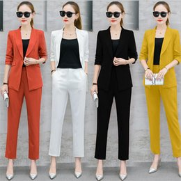 dress suits 2019 - Office Lady Business Suits Solid Color 2 Pieces Sets Fashion Women Long Sleeve Pants Suits cheap dress suits