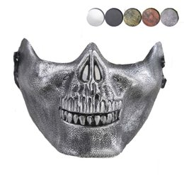 Discount skull half face paintball mask - CS Mask Carnival Gift Scary Skull Skeleton Paintball Lower Half Face facemask warriors Protective Mask For Halloween Par