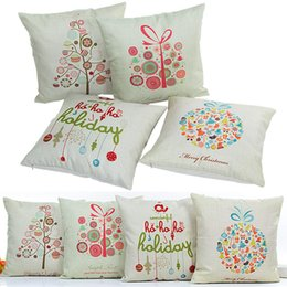 Discount 54 car - Christmas Pillow Case Snowflake Reindeer Pillowcase Linen Cartoon Cushion cover Home Sofa Car Decor Without core 54 Styl