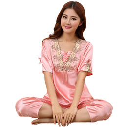 ac9afa649c Faux Silk Pajamas Pijama Set 2018 Summer Home Wear Women 2PCS Sleepwear New  Style Short Sleeve Nightwear Suit Negligee M-XXL