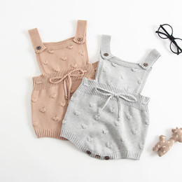 girls bubble rompers 2020 - Baby Girls Knitted Rompers INS New Autumn Winter New Kids Lovely Bubble Ball Sleeveless Cotton Pure Color High Quality K