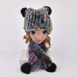 Rabbit Fur Scarves Caps Australia - Winter Fur Hats for Girls Real Fur Rex Rabbit Trapper Hat with balls Kids pompom knitted hat hand knitted beanies Ring scarf