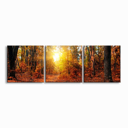 Digital Prints Canvas Australia - 3 pieces high-definition print herbst Landscape canvas oil painting poster and wall art living room picture PL3-021
