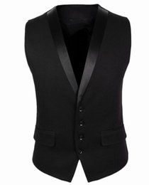 men dress xl NZ - Men Suit Vest 4 Buttons V Collar Classic Dress Slim Fit Vests Male Sleeveless Brand Mens Formal Wedding Waistcoat M-XL