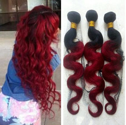 wholesale burgundy peruvian hair 2019 - Red Ombre Brazilian Virgin Hair Two Tone Colored Black and Burgundy Ombre Body Wave Human Hair Bundles discount wholesal