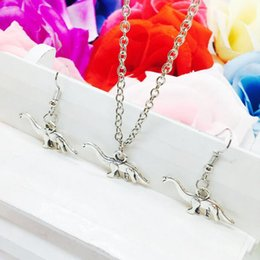 Holiday Earrings NZ - New Hot Sell Popular Antique Silver Dinosaur Charm Pendant Necklace Earring Set Fashion Creative Women Jewelry Accessories Holiday Gift