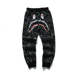 Discount camp wear - 18SS Mens designer pants A Bathing HIP HOP camo Shark mouth cotton ape outdoor wear autumn mens joggers for man woman si
