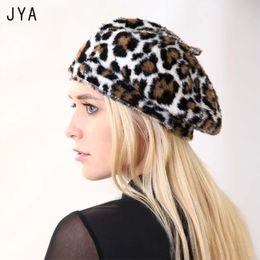 british hat styles women 2019 - High Quality Leopard Beret Acrylic Soft  Elastic Women Girls Winter a2aa8d47386