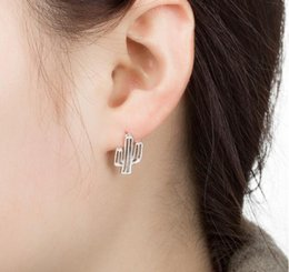 $enCountryForm.capitalKeyWord Australia - 12pairs lot new arrival hot sale gold rose gold silver women female fashion earrings Fresh and lovely tropical hollow cactus girls earrings