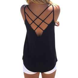 68bafe58f61 Laamei Sexy Backless Women Crop Top Back Hollow Out Sleeveless Knitted  Cotton Tank Top Summer Lace Up Tee Tops Female Vest
