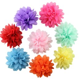 chiffon flower hair clips wholesale UK - 10pcs lot Cute Big Chiffon Flower Girl Hairpin Headdress Hairpin Hair barrettes Clip Kids Hair Accessories