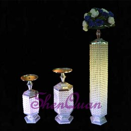 $enCountryForm.capitalKeyWord Australia - crystal columns flower stand wedding decorations,Wedding Gold Road Lead Flower Table Vase Stand for Wedding Centerpiece Decoration