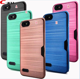 cell phone case for zte 2019 - N9137 Cards Slot Holder Brush Hybrid Hard PC TPU Case For ZTE Tempo X Avid 4 N9137 Fashion Hybrid Armor Cell Phone Color