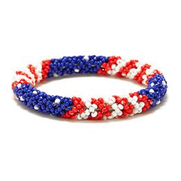 b1c715ef4e88 Nepal Handmade Bead Bracelet Hippy Friendship Popular Roll Crochet Woven  Seed Beads USA flag stripes Pattern Bracelets For Women