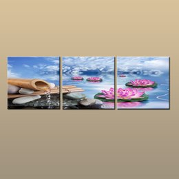 Contemporary Frames Canvas Prints Australia - Framed Unframed Hot Modern Contemporary Canvas Wall Art Print Painting Abstract Lotus Flower Picture 3 piece Living Room Home Decor ABC286