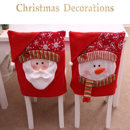 Decoration For Party Tables NZ - New Santa Claus Cap Chair Cover Christmas Dinner Table Party Red Hat Chair Back Covers Xmas Christmas Decorations for Home LE169