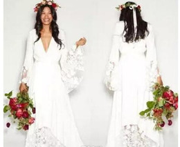 $enCountryForm.capitalKeyWord Australia - 2017 Summer Beach BOHO Wedding Dresses Bohemian Beach Vinatge Bridal Gowns with Long Sleeves Lace Flower Custom Plus Size Custom Made