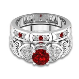 bridal set ring 2019 - 2018 New Arrival Stunning Fashion Jewelry 925 Sterling Silver Round Cut Red Ruby CZ Diamond Women Wedding Bridal Ring Se
