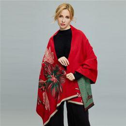 Discount thick warm blankets - Women Winter Cashmere Shawls Scarves flower pattern Warm Wraps Scarf Long Thick Shawl Big Blanket Size 190*70cm