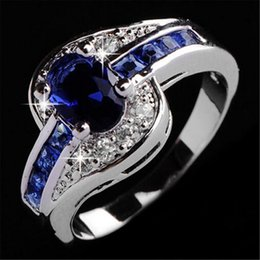 mexican wedding rings 2019 - Wedding Rings For Women luxury jewelry blue crystal diamond ring Engagement Wedding Gemstone Rings cheap mexican wedding