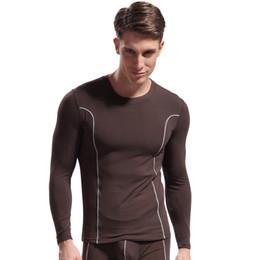 bamboo onesies 2019 - Men's bamboo fiber underwear warm clothing shirt Slim fit long johns comfort soft Sexy Undershirt tight (Not include pan