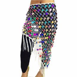 Sequin Belts Cheap NZ - Cheap Belly Dance Clothes Accessories Stretchy Long Tassel Triangle Belt Hand Crochet Sequin Belly Dance Hip Scarf Coin Belt