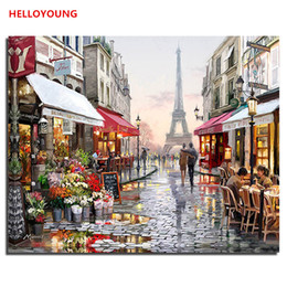 paris street paintings Australia - Paris Street Scenery DIY Painting By Numbers Handpainted Canvas Painting Home Wall Art Picture For Living Room Home Decoration