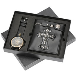 Punk Men Watch Skull Leather Zip Wallet Gift Set Cool Steampunk With Box Christmas Watches For Father Boyfriend Birthday
