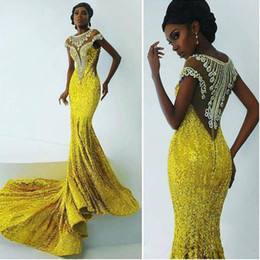 gold sequin prom dress short Australia - Gold Sequin Mermaid Evening Wear Scoop Neck Short Sleeve Mermaid Prom Gowns Sweep Train Beads Formal Evening Dress