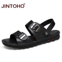 Male Leather Sandals Canada - JINTOHO Big Size Summer Men Beach Shoes Genuine Leather Men Sandals Fashion Male Sandals 2018 Beach Leather For