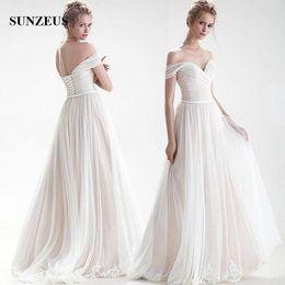 $enCountryForm.capitalKeyWord NZ - Off Shoulder Bridal Dress Simple Elegant Tulle Wedding Gowns With Lace Edge A-line Sweetheart Long Bride Dress robe de mariee
