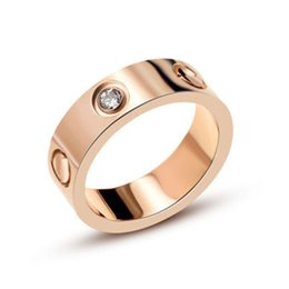 Gold couple love bands enGaGement rinGs online shopping - Hot sell L Titanium Steel carter Love Rings Women Men Couples Anel CZ Wedding Ring Brands Logo Pulseira feminina jewelry