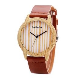 GENBOLI FD070 Stripe Pattern Women Watches Wooden Round Dial Quartz  Wristwatch Female Ladies Elegant Fashion Wrist Watches 0d35e019c