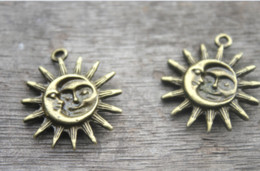 Pewter Pendants online shopping - 6pcs Sun and Moon Pewter Charm Bronze tone Sun and Moon Charm Pendant x30mm RED