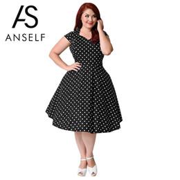 Dot Line Dress Canada - 3XL-9XL Women Plus Size Retro Polka Dot Dress 1950s 60s Rockabilly Swing Dress A-Line Party Dresses female Vintage Midi