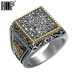 Punk Rings NZ - HIP Punk Crown Pattern Mens Signet Rings Vintage Square Titanium Stainless Steel Crystal Rings for Men Jewelry