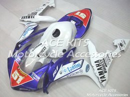 Yzf R1 Tank Canada - ACE Motorcycle Fairings For YAMAHA YZF R1 2004 2005 2006 Compression or Injection Bodywork shocking white and blue +TANK No.1095