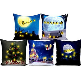 Chinese  LED Light Cushion Cover Christmas Theme Letters Pillowslip Comfortable For Bedroom Decor Pillow Case 30 pcs manufacturers