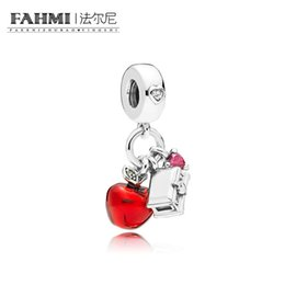 Glass apple charm online shopping - FAHMI Sterling Silver CZRMX SNOW WHITE S APPLE AND HEART HANGING CHARM Original Jewelry Gift Recommended